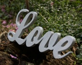 Large SCRIPT LOVE Wood Sign-Hand-cut, hand-decorated
