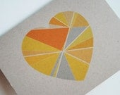 Eco-Friendly Modern Greeting Card - Pieces of My Heart Blank Card - Geometric I Love You Card in Citrus Yellow - Recycled