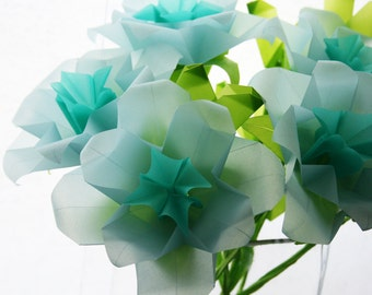 Paper Flowers - Blue Roses - Origami bouquet folded with translucent origami paper, Paper Bouquet