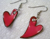 Valentines Jewelry Enameled Hearts Earrings Red