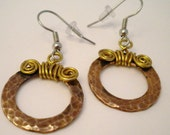 SALE Copper Earrings Hammered Circles Hoops Wire Wrapped