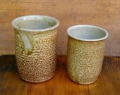 Pair of Wood Fired Cups with White Interior
