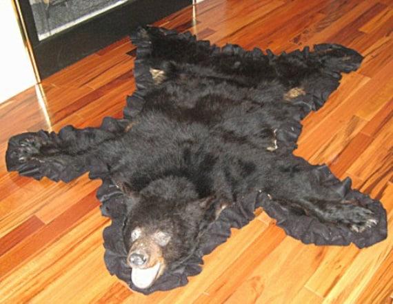 Vintage black bear skin rug home decor great cabin mancave for African skin decoration