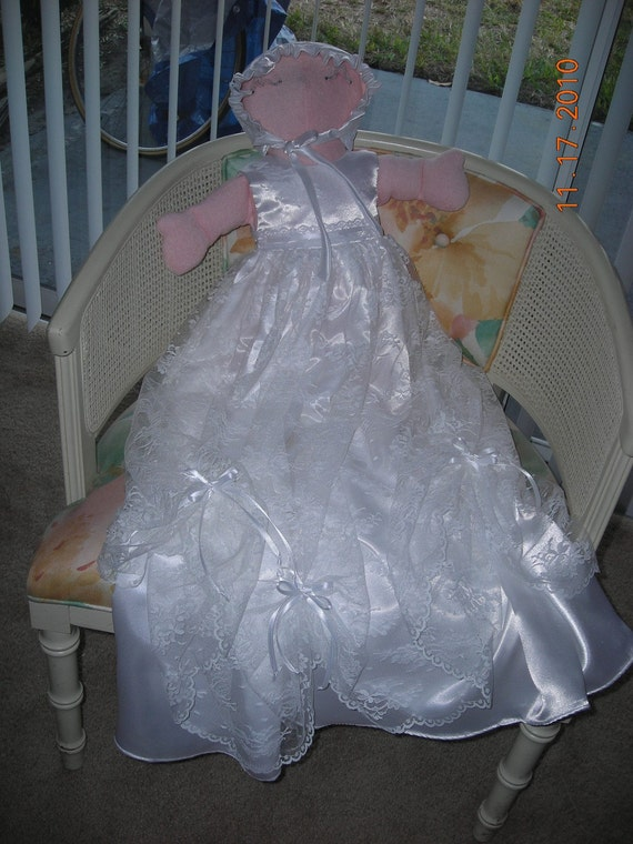 COUTURE  CHRISTENING  GOWN with Jacket and Hat