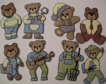 12 Assorted Dolls, Bears, Flowers, Hearts Embroidered Patches