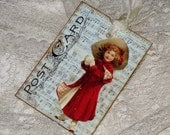 Vintage Christmas Child Post Card Gift Tag ATC Music Sheet