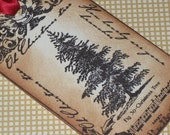 Vintage Christmas Tree Gift Tags Tea Stained Hand Distressed with Red Satin Ribbon