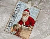 Santa Gift Tag, Christmas Gift Tag Vintage Inspired Post Card Music Sheet Christmas Gift Tag with Santa