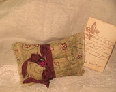 Vintage French Script Floral Sachet Handmade and Hand Stamped Filled with Provence Lavender Ooh La La