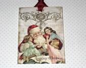 Santa with Children Vintage Gift Tag Set ECS