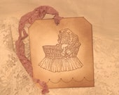 Vintage Style Baby Gift Tag Announcement Birthday Baby Girl Twins ECS