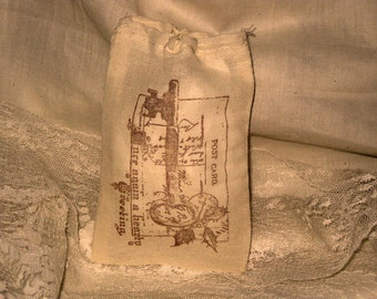 Vintage Christmas Hand Stamped  Muslin Gift Bag ECS