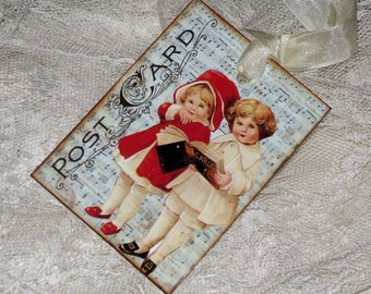 Gift Tags Vintage Post Card Gift Tag Christmas Children Caroling ATC