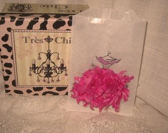 Vintage Dress French Feston Hot Pink Glassine Favor Bags ECS