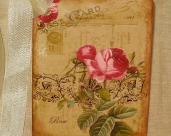 Floral Postcard Original Design Gift Tag Rose Flower Vintage Inspired ECS