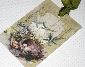 Vintage Paris Birds Nest Nature Gift Tags