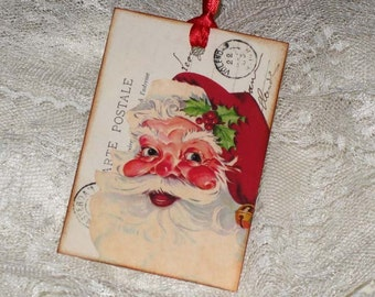 On Sale Vintage Carte Postale Santa Gift Tags Christmas ATC