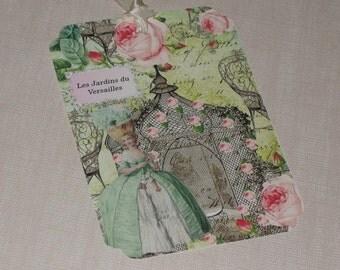 Vintage Inspired Gift Tags Marie Antoinette Les Jardins du Versailles.