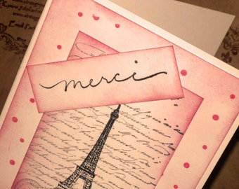 Paris Eiffel Tower Vintage Inspired Merci Thank You Card Vintage Pink Handmade ECS