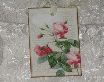 Vintage Floral Gift Tags with Crinkled Seam Binding