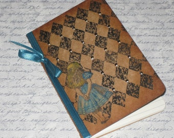 Handmade Moleskine Notebook Altered with Alice in Wonderland