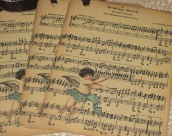 Wedding March Vintage Tags Set of 4 F. Mendelssohn Sheet Music