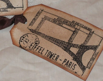 Eiffel Tower Vintage Stained Gift Tags Paris Apartment Find