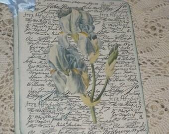 Ink Distressed Floral Script Gift Tag Vintage Inspired ECS