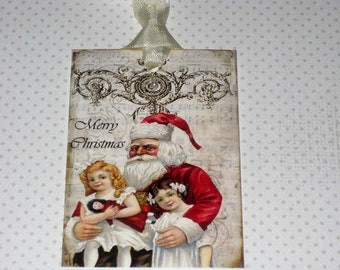 Vintage Santa with Children Gift Tag ECS