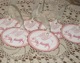 Flying Pink Pig Oval Scalloped Gift Tag Ecs