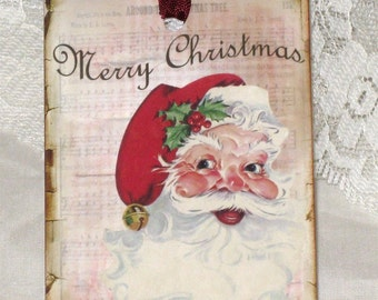 Vintage Gift Tags Merry Christmas Santa Claus Set of 6