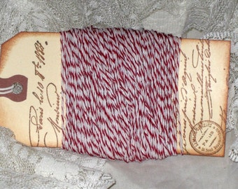 Red and White Twine For Holiday Gift Tags With French Script GiftTag
