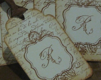 Personalized Initial Vintage Gift Tags with a French Flair