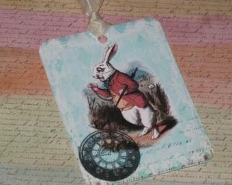 Alice in Wonderland Gift Tags with Seam Binding ATC Rabbit