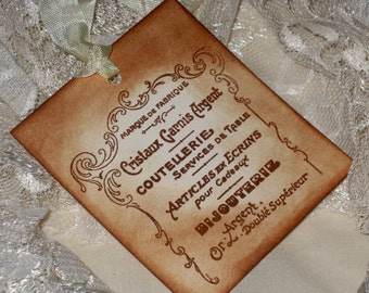 Vintage Bijouterie Gift Tags Hand Stamped and Distressed Marie Antoinette Le Beau Monde Collection