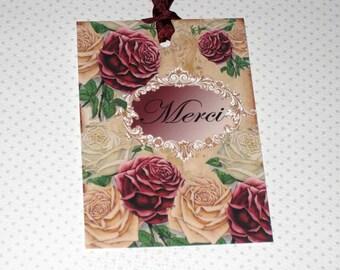 Vintage Paris Roses Merci Gift Tags Paris Apartment Merci Ooh La La Paris