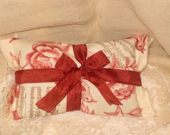 Vintage French Red Song Bird with Music Notes Handmade French Lavender Sachet Ooh La La