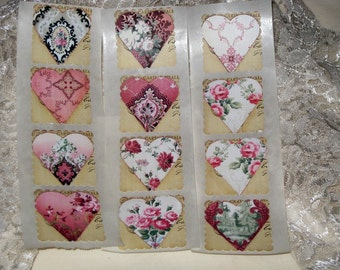 Tattered Vintage Style Scalloped Square Heart Sticker Seal Tags ECS