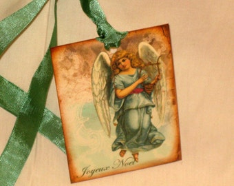 Vintage Inspired Christmas Joyeux Noel Angel with Harp in Fench Blue Gift Tag ECS