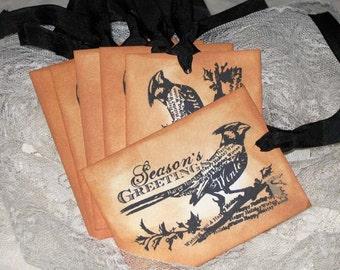 Vintage Hand Stamped Gift Tags Season Greetings Bird ECS Christmas