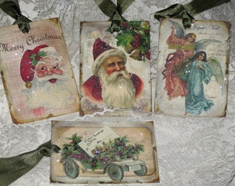 Vintage Santa Christmas Gift Tags with Glitter and Glitz Set of 4 Assorted