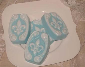 Fleur De Lis Soap, Handmade Soap, Shea Butter Guest Soap, Lavender Soap, Wedding Favor Soap, Show Favor Soap, Vegan Friendly Soap, ECS