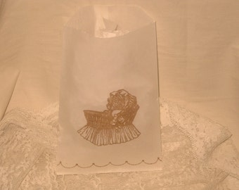 Glassine Party Favor Bags Vintage Baby Carriage Baby Boy Girl Twins ECS