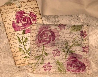 Vintage French Floral French Script  Handmade and Hand Stamped Filled with Provance Lavender Ooh La La