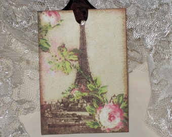 Vintage Spring Eiffel Tower Gift Tags ECS Tattered Vintage Style