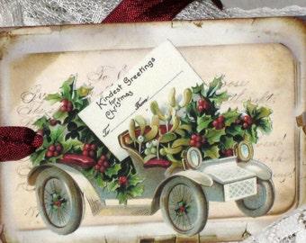 Vintage Christmas Gift Tag with Seam Binding Christmas Car