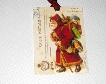Vintage Gift Tag Carte Postale Vintage Santa ECS