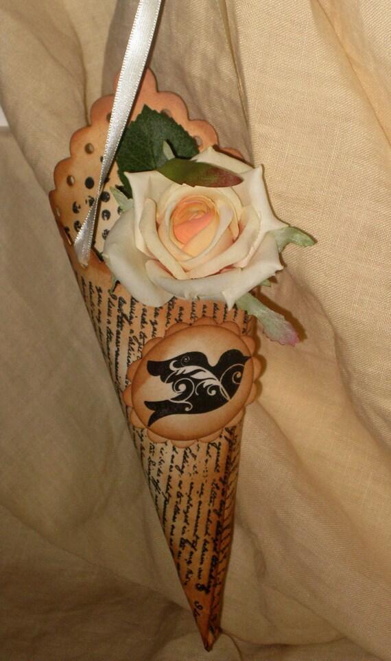 Handmade Dove Wedding Favor Cone Shower Party Favor Gift Bag