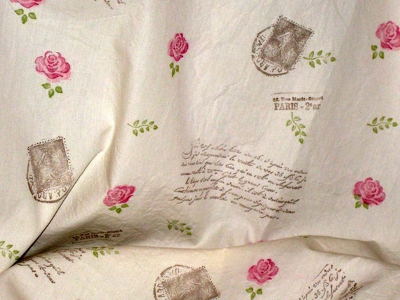 Handmade Vintage Muslin Fabric Hand Stamped and distressed