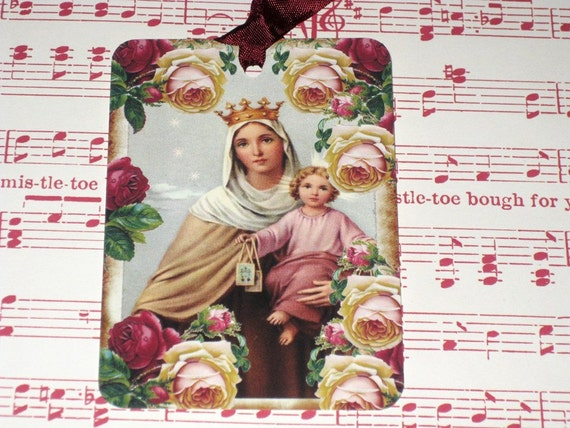 Religious Mother and Child Gift Tag Set of 6 ECS Christmas